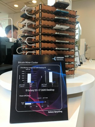 Samsung turned 40 Galaxy S5 phone into a huge Bitcoin mining machine